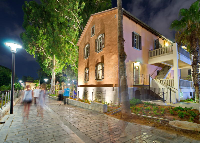Tel Aviv Night Life. Restored houses at night at the hip Sarona district featuring rich night life and conserved Templer era German architecture from the late royalty free stock photos