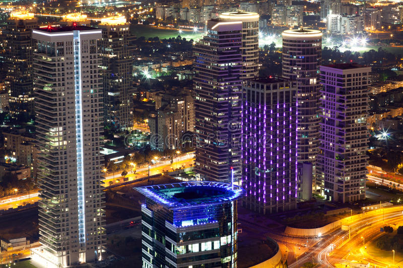Tel Aviv Night View stock images