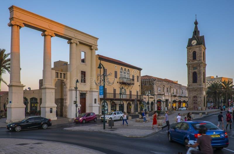 Tel Aviv - 20 06 2017: Oude de stad en het vervoersmening van Jaffa stock fotografie