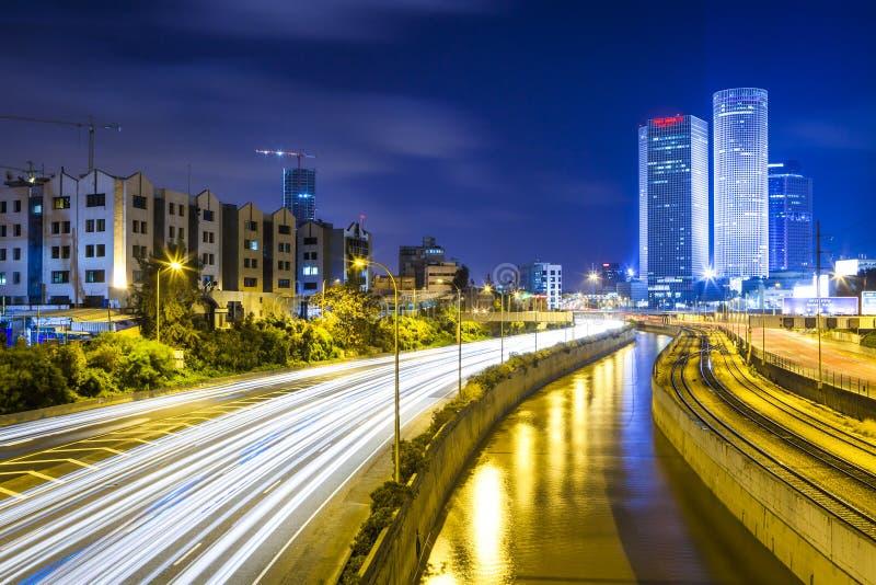 Tel Aviv på natten royaltyfria bilder