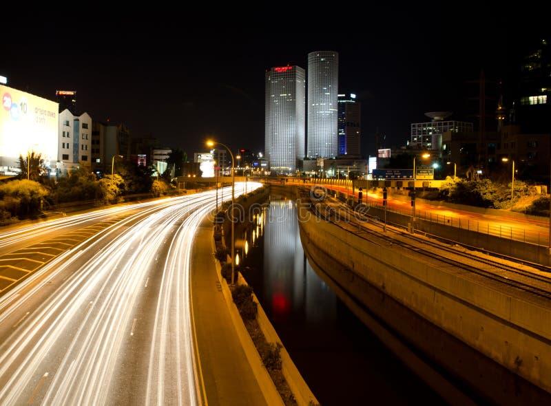 Tel Aviv par nuit photo libre de droits