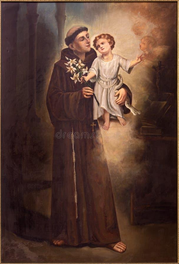 Tel Aviv - a pintura de Saitn Anthony de Padus da igreja de St Peters em Jaffa velho imagens de stock