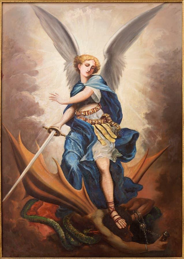 Tel Aviv - a pintura do arcanjo Michael da igreja de St Peters em Jaffa velho fotos de stock royalty free