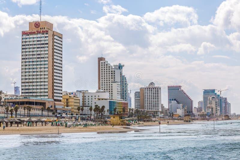 Tel Aviv riviera e hotéis fotografia de stock