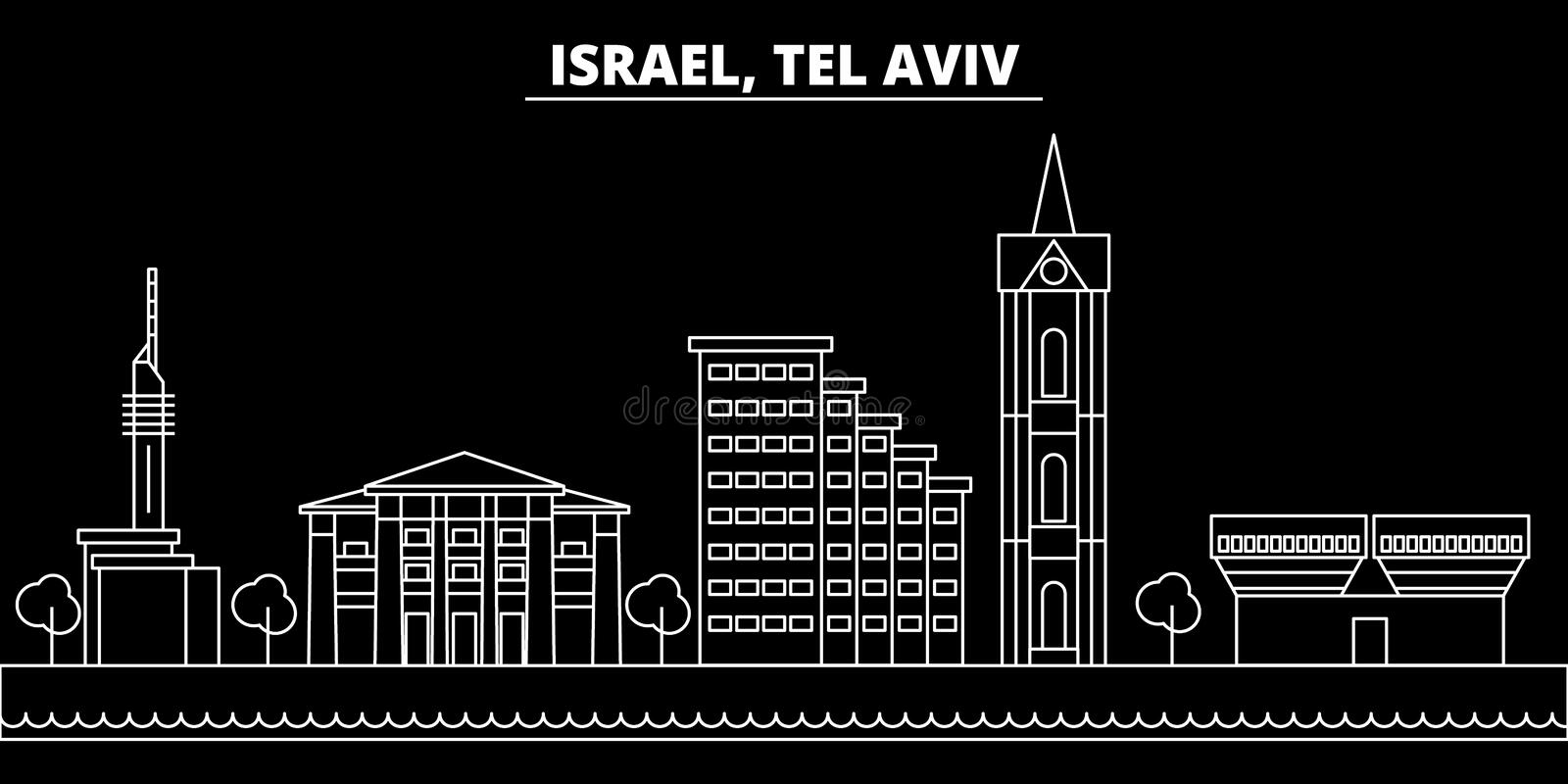 Tel aviv silhouette skyline. Israel - Tel aviv vector city, israeli linear architecture, buildings. Tel aviv travel stock illustration