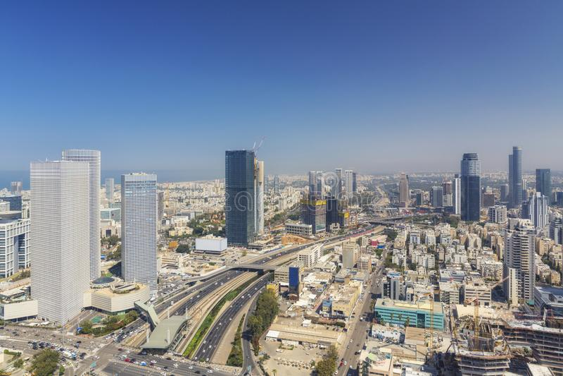 Tel Aviv And Ramat Gan Skyline, Tel Aviv Cityscape At Day, Israel royalty free stock image