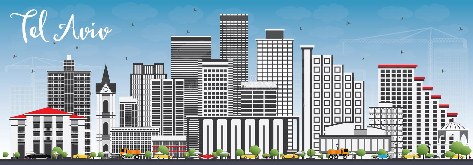 Tel Aviv Skyline with Gray Buildings and Blue Sky. Vector Illustration. Business Travel and Tourism Concept with Modern Architecture. Image for Presentation stock illustration