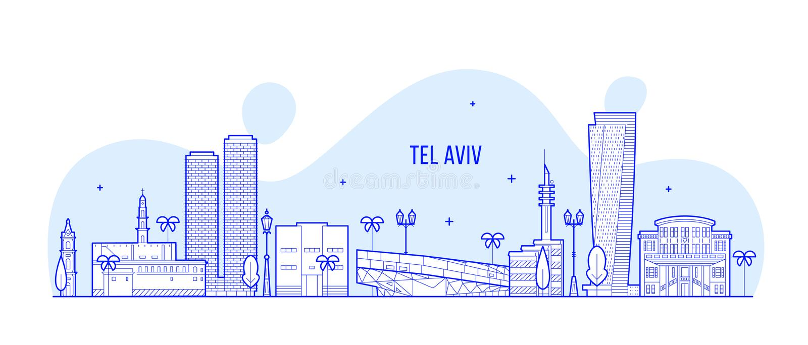 Tel Aviv skyline Israel city buildings vector line stock illustration