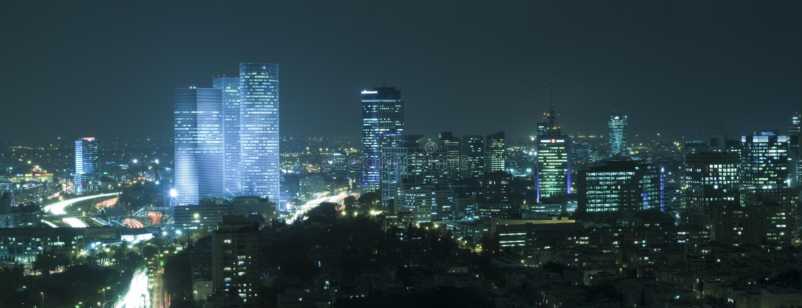 Download Tel Aviv Skyline  at Night stock photo. Image of colored - 8209876