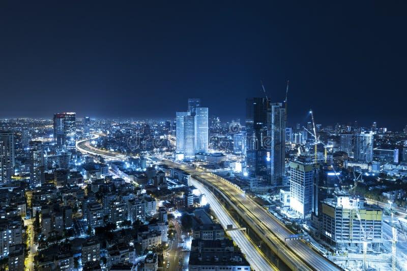 Tel. Aviv Skyline At Night, Wolkenkrabber stock afbeeldingen