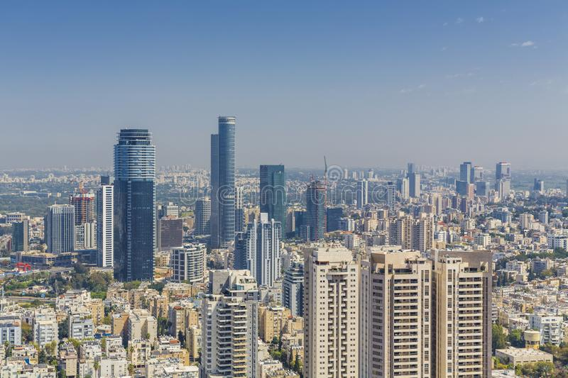 Tel Aviv And Ramat Gan Skyline, Tel Aviv Cityscape At Day, Israel royalty free stock images