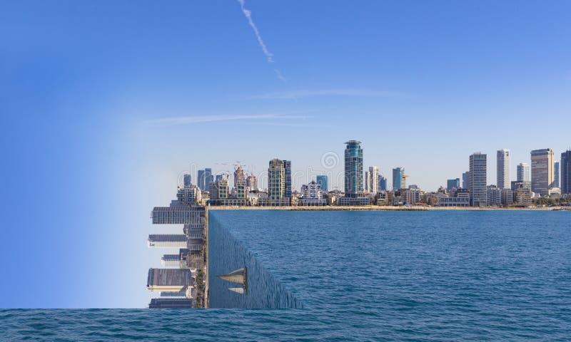 Tel Aviv Skyline Surrealism square world. Photoshop edit with sail boat royalty free stock images