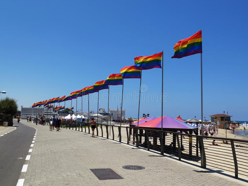 Tel Aviv tęczy flaga obrazy royalty free