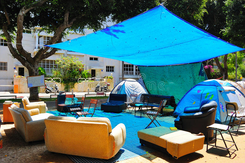 Tel Aviv Tent Demonstration stock photo