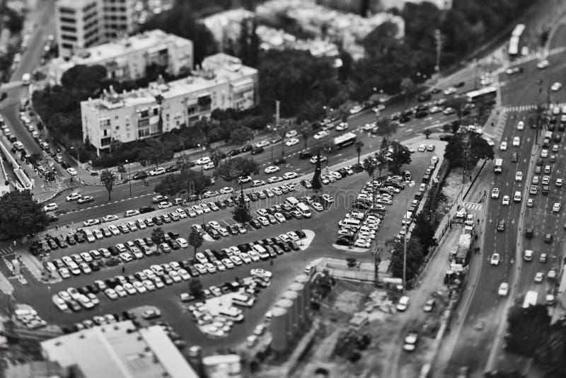Tel Aviv - 10 06 2017: Widok z lotu ptaka na Tel Aviv propert i drogach obraz royalty free