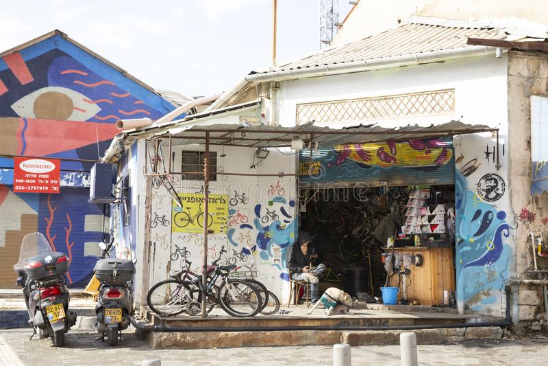 Bicycle repair shop in Florentin, Tel Aviv, Israel stock photos