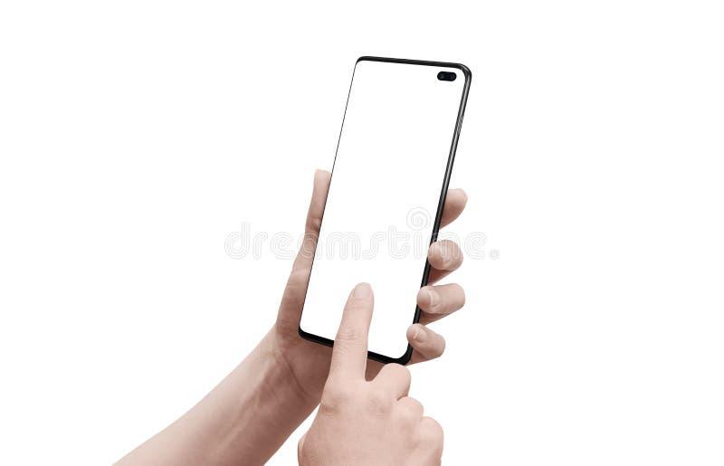 Tel?fono elegante aislado en manos de la mujer Teléfono moderno con los bordes del rounde y cámara construida en la exhibición foto de archivo