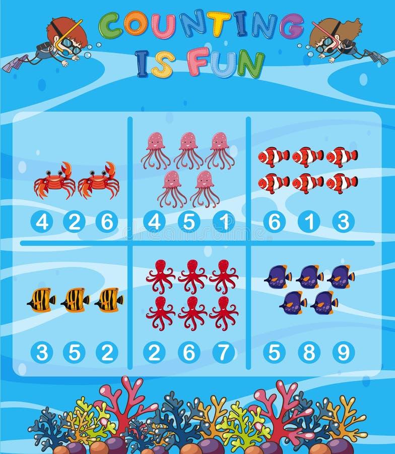 Tel het aantal onderwaterthema vector illustratie