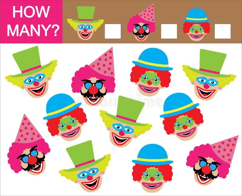 Tel hoeveel clowns Het leren aantallen, wiskunde Spel voor c stock illustratie