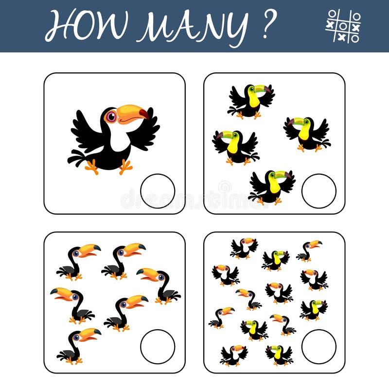 Tel hoeveel toekannen en het resultaat schrijf Tellend Spel voor Peuterkinderen Onderwijs een wiskundig spel royalty-vrije illustratie