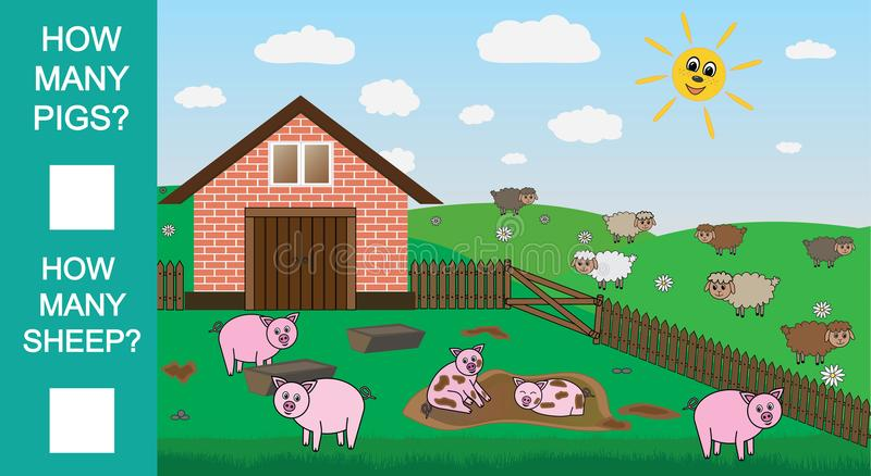 Tel hoeveel varkens en schapen, onderwijs wiskundig spel Tellend Spel voor Peuterkinderen Vector illustratie stock illustratie