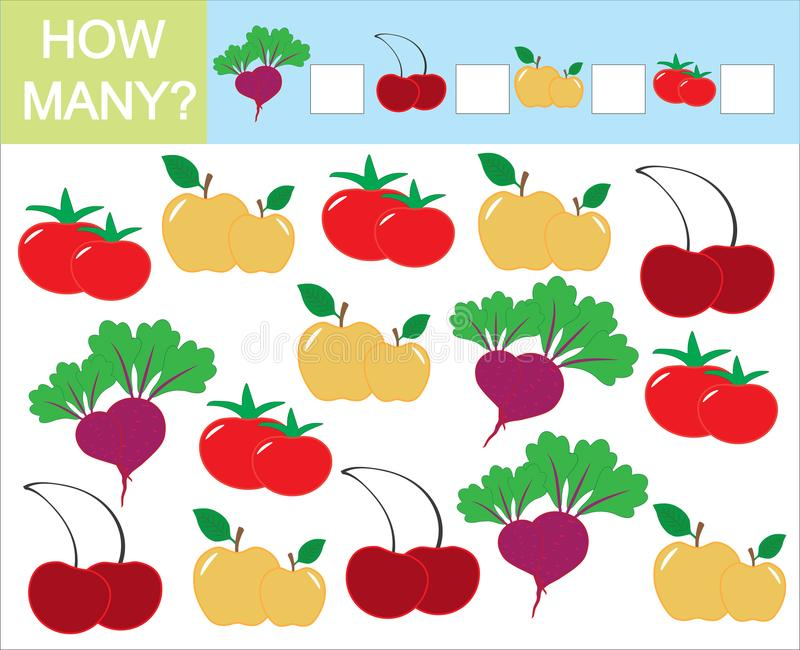 Tel hoeveel vruchten, bessen en groenten Het leren aantallen, vector illustratie