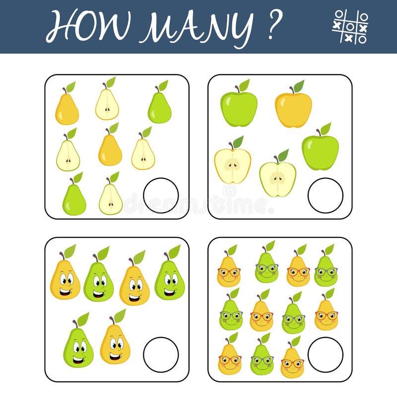 Tel hoeveel vruchten en het resultaat schrijf Tellend Spel voor Peuterkinderen Onderwijs een wiskundig spel royalty-vrije illustratie