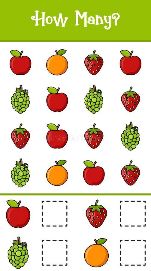 Tel hoeveel vruchten stock illustratie