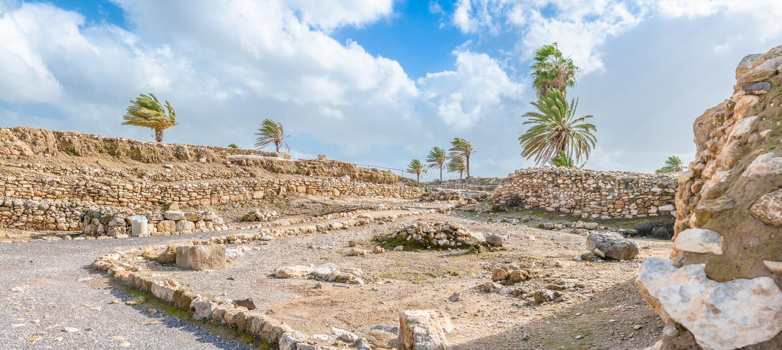 Tel Megiddo ruins. Tel Megiddo in norhtern Israel is better known under it's Greek name - Armageddon. The Book of Revelation mentions an apocalyptic battle at royalty free stock photos