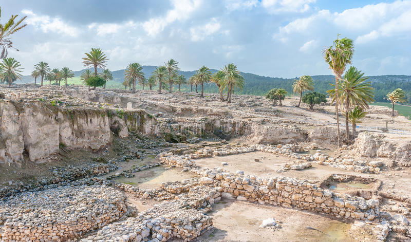 Tel Megiddo ruins. Tel Megiddo in norhtern Israel is better known under it's Greek name - Armageddon. The Book of Revelation mentions an apocalyptic battle at stock image