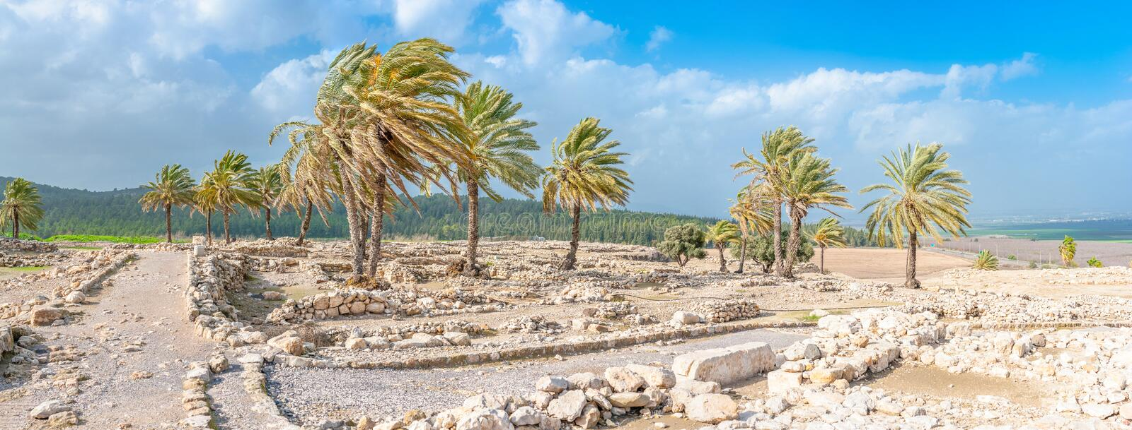 Tel Megiddo ruins. Tel Megiddo in norhtern Israel is better known under it's Greek name - Armageddon. The Book of Revelation mentions an apocalyptic battle at stock photography