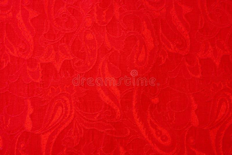 Tela étnica ornamentado tecida bonita vermelha de paisley do close-up imagens de stock