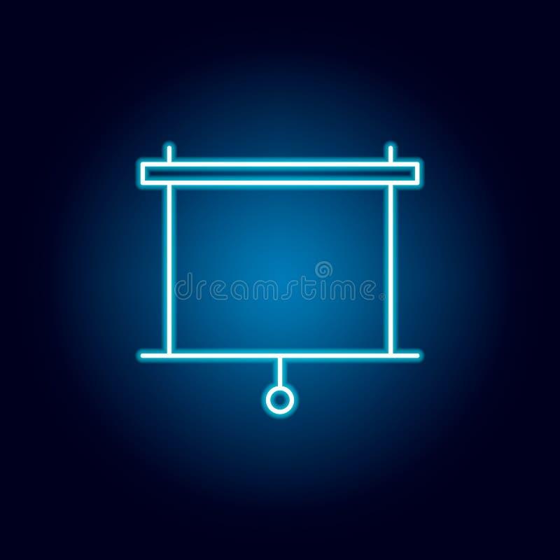 tela, ícone do esboço do projetor no estilo de néon elementos da linha ícone da ilustração da educação os sinais, símbolos podem  ilustração do vetor
