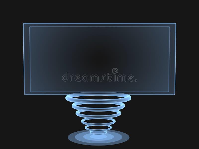 tela 3d digital com uma sustentação dos anéis ilustração do vetor
