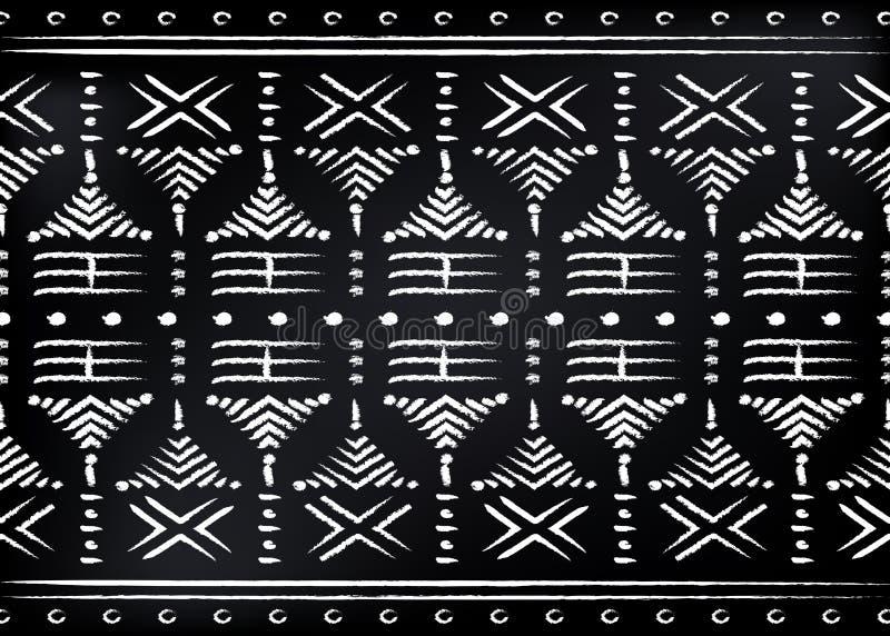 Tela africana da cópia, ornamento feito a mão étnico para seus elementos geométricos do projeto, os étnicos e os tribais dos moti ilustração do vetor