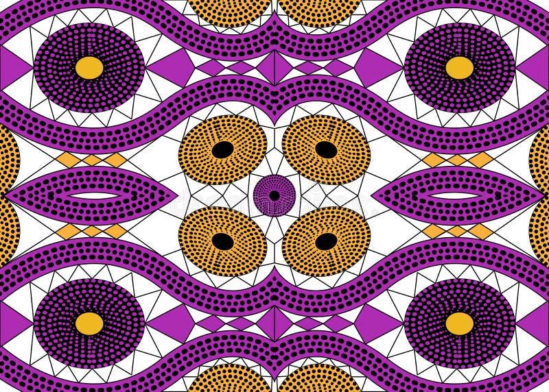 Tela africana de la impresión, ornamento hecho a mano étnico para sus elementos geométricos del diseño, étnicos y tribales de los ilustración del vector
