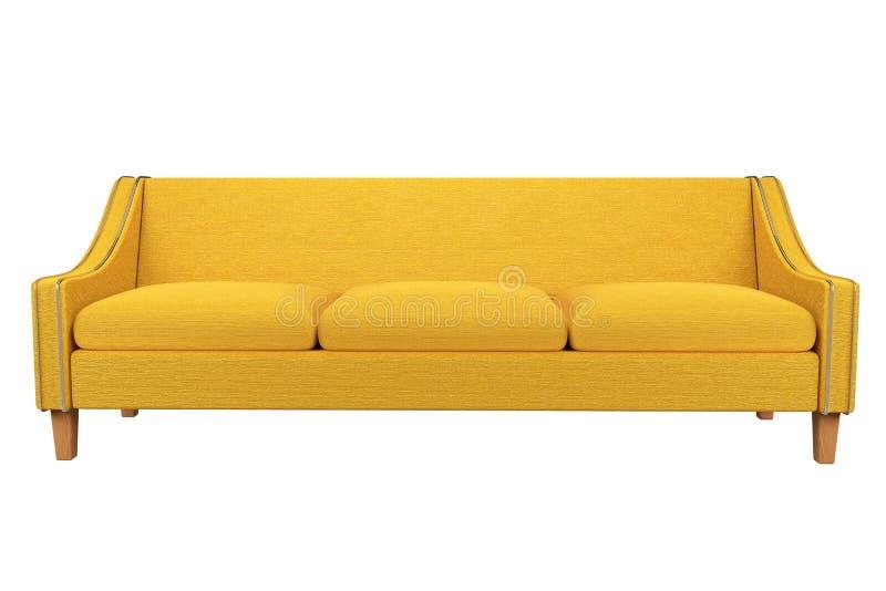 Tela amarilla del sofá y de la silla de cuero en el fondo blanco para el uso en gráficos, foto que corrige, sofás, diversos co ilustración del vector