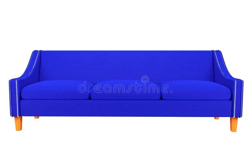 Tela azul del sofá y de la silla de cuero en el fondo blanco para el uso en gráficos, foto que corrige, sofás, diversos colore stock de ilustración