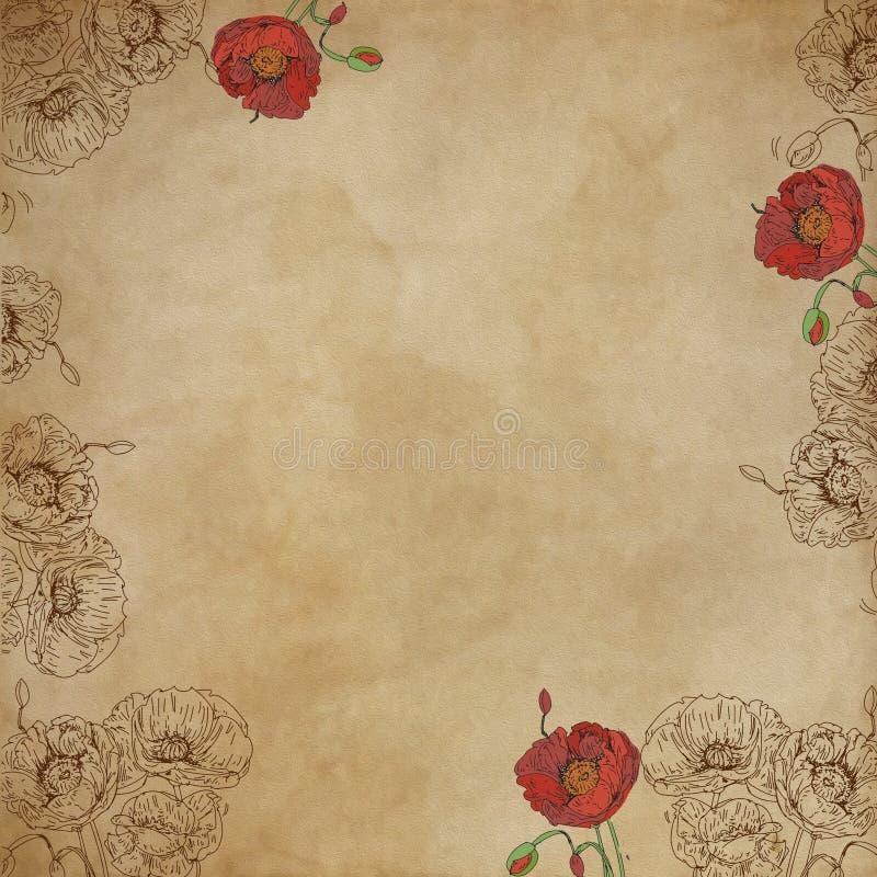 Tela bassa neutrale di effetto per le basi artistiche con le note musicali con i fiori illustrazione vettoriale