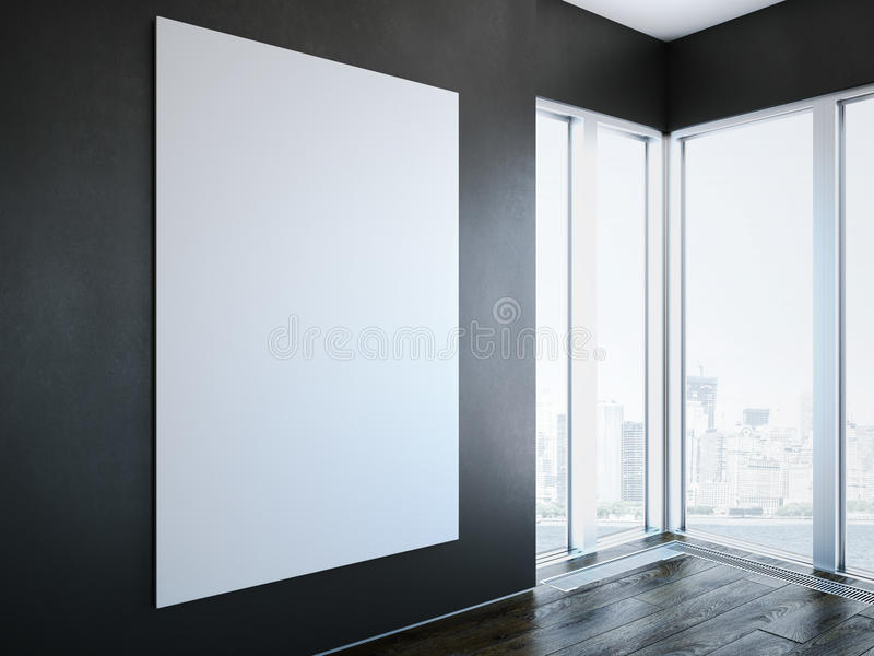 Tela bianca sulla parete nell'interno moderno rappresentazione 3d illustrazione vettoriale