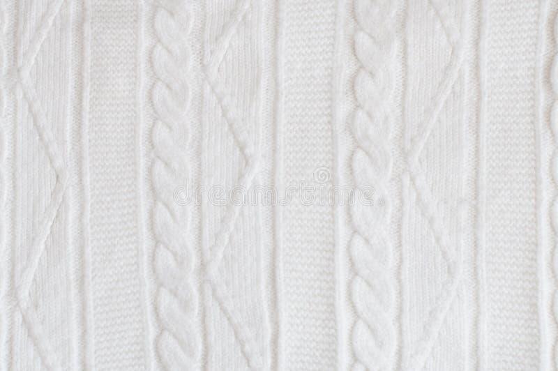 Tela blanca hecha punto del modelo Fondo de la materia textil del invierno imagen de archivo libre de regalías