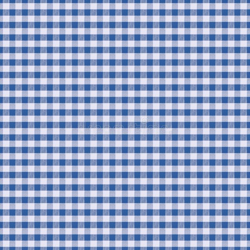 Tela branca da textura sem emenda na gaiola azul, fundo para o desig ilustração stock