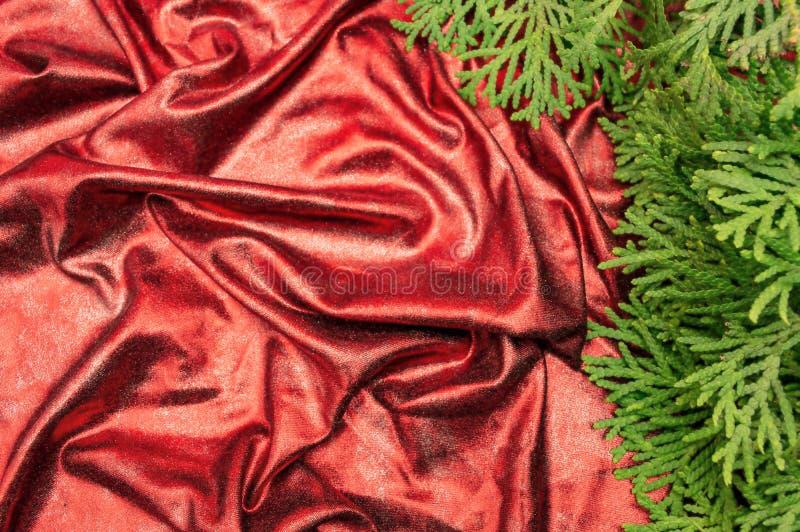 A tela brilhante vermelha drapeja o Natal da textura do ano novo foto de stock royalty free