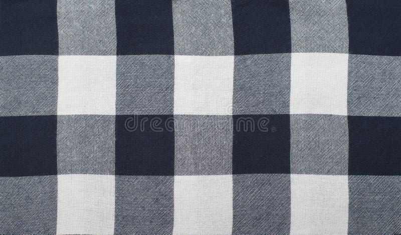 Tela Checkered Cor branca e azul Fim acima foto de stock