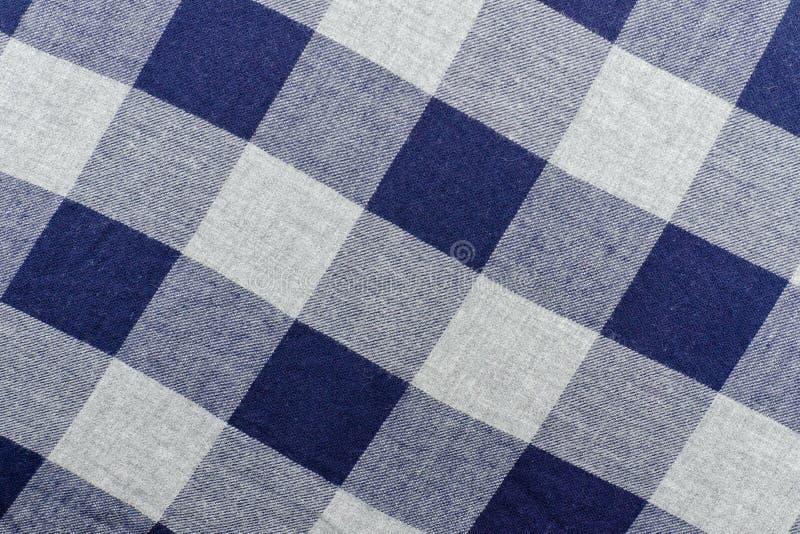Tela Checkered Cor cinzenta e azul Fim acima fotos de stock royalty free