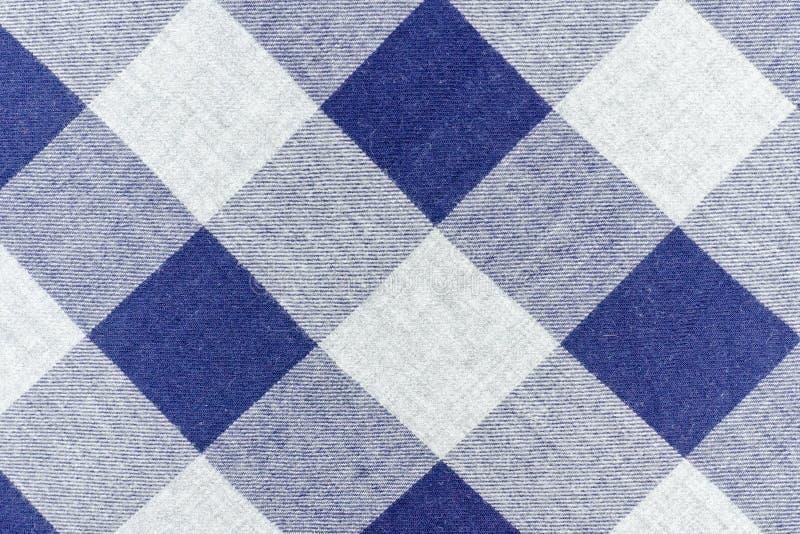 Tela Checkered Cor cinzenta e azul Fim acima foto de stock royalty free