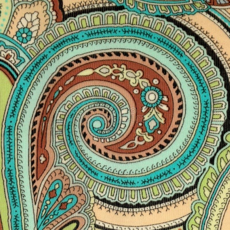 Tela colorida do vintage com a cópia azul e marrom de paisley imagem de stock royalty free