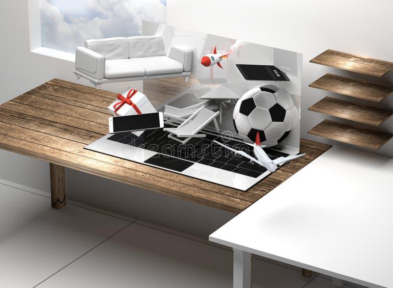 Tela 3d-illustration dos presentes do portátil do caderno do computador ilustração do vetor