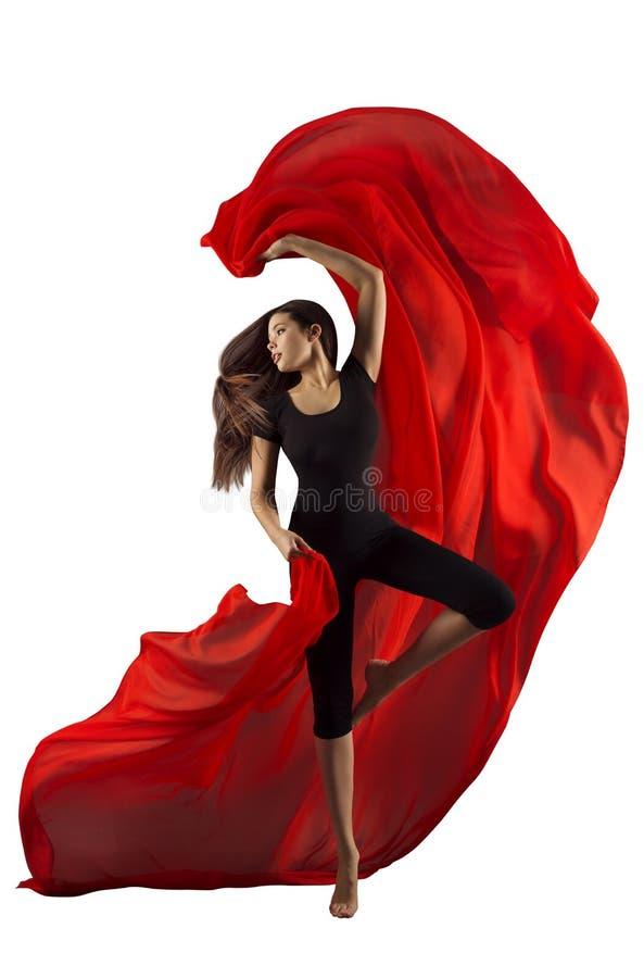 Tela da dança da mulher, dançarino de bailado moderno do esporte com pano vermelho foto de stock royalty free