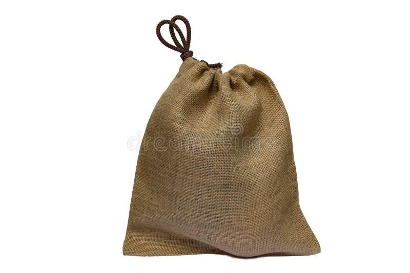 Tela da sacola ou modelo do saco da compra da cor do marrom de pano isolado no fundo branco imagens de stock